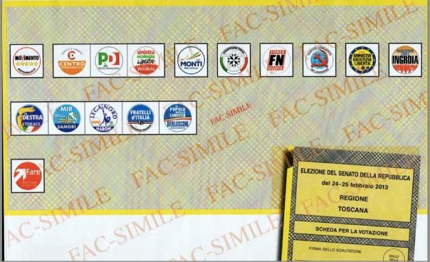 Il facsimile della scheda al Senato in Toscana per le elezioni del 24 e 25 febbraio 2013