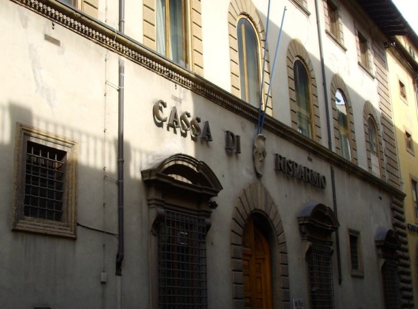 La sede storica della Cassa di Risparmio di Firenze in via Bufalini, oggi ospita l'Ente Cassa