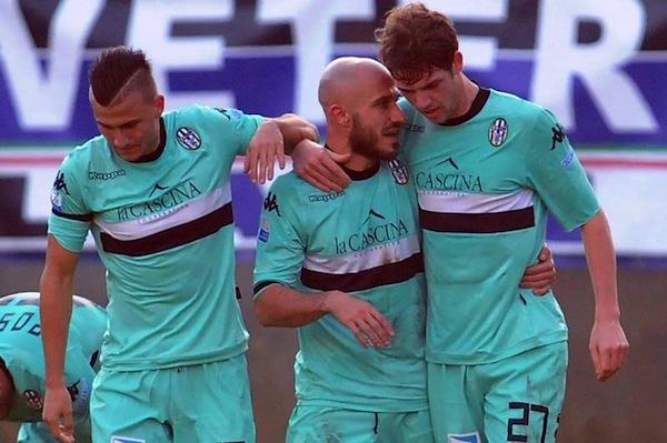 L'esultanza dei giocatori del Siena