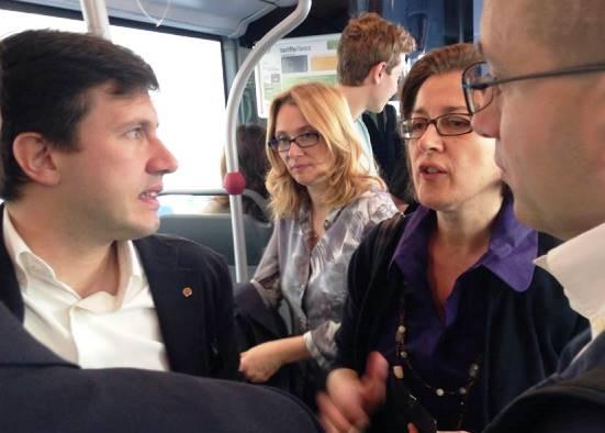 Dario Nardella e Nicoletta Mantovani in bus per San Miniato