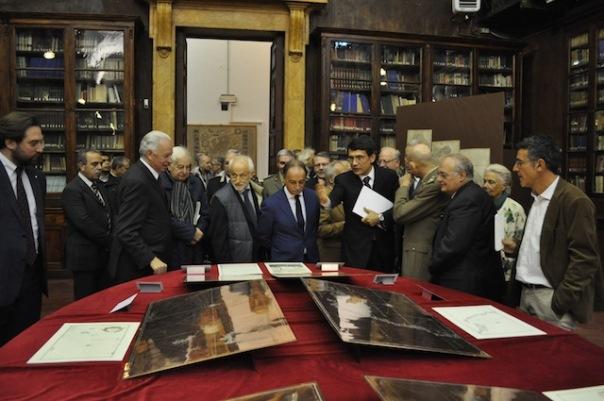 L'inaugurazione della mostra nella biblioteca del Geografico Militare