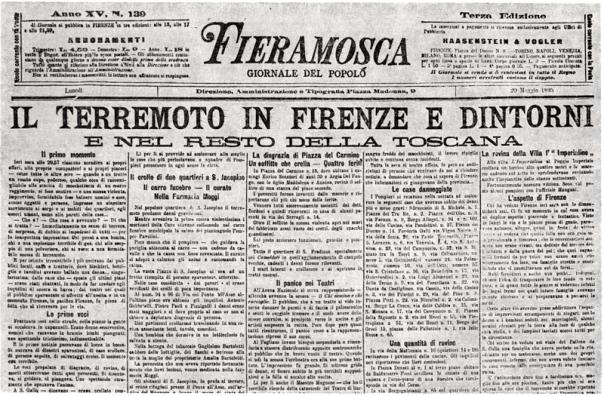 La prima pagina del giornale fiorentino Fieramosca