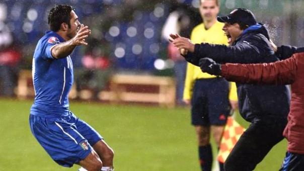 Bulgaria-Italia, l'esultanza di Eder e Conte dopo il 2-2 della partita di andata