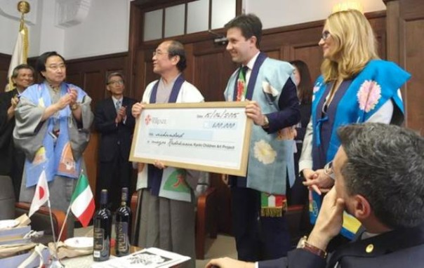 Il sindaco Nardella e Nicoletta Mantovani  con il sindaco di Kyoto