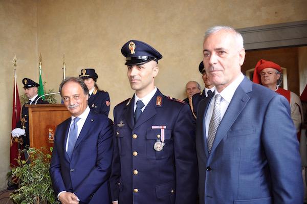 da sin. il prefetto Luigi Varratta, il vice sovrintendente Paolo De Giorgi e il questore Raffaele Micillo