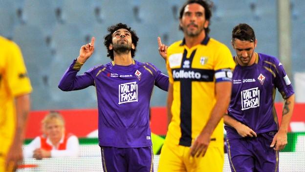 Fiorentina-Parma, l'esultanza di Salah dopo il gol (foto Giacomo Morini)