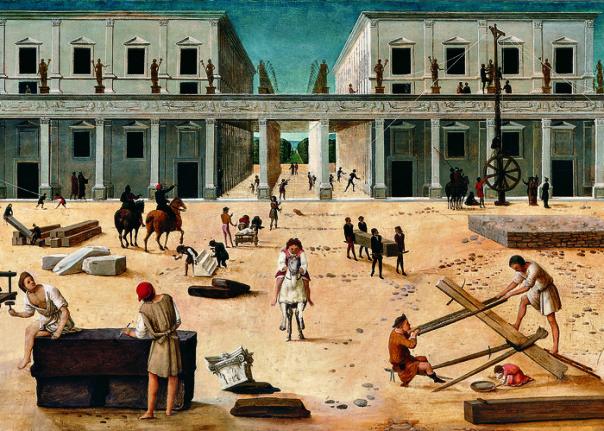 La costruzione di un edificio, 1490 circa, Tavola, Sarasota (FL), The John and Mable Ringling Museum of Art.