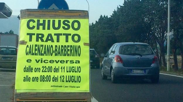 Chiusura del tratto in A1 tra Barberino e Calenzano