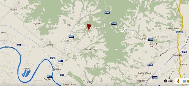 La mappa della zona interessata dall'incendio vicino a Calci