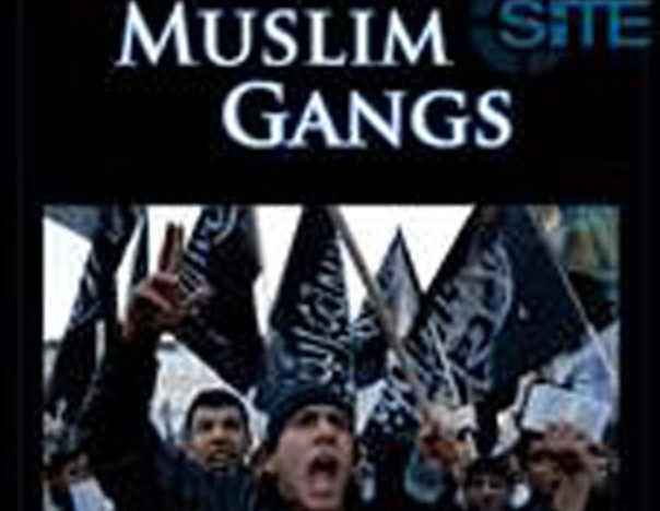 "+++ ANSA PROVIDES ACCESS TO THIS HANDOUT PHOTO TO BE USED SOLELY TO ILLUSTRATE NEWS REPORTING OR COMMENTARY ON THE FACTS OR EVENTS DEPICTED IN THIS IMAGE; NO ARCHIVING; NO LICENSING +++ La copertina del presunto e-book, intitolato ""Muslim gangs"", pubblicato sul sito internet SITE, 06 luglio 2015. ANSA/INTERNET/SITE"
