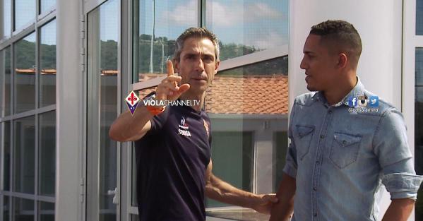 Paulo Sousa con il brasiliano Gilberto (da violachannel.tv)