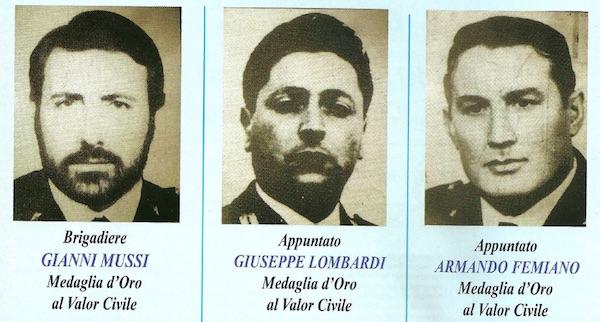 I tre poliziotti uccisi a Querceta 40 anni fa
