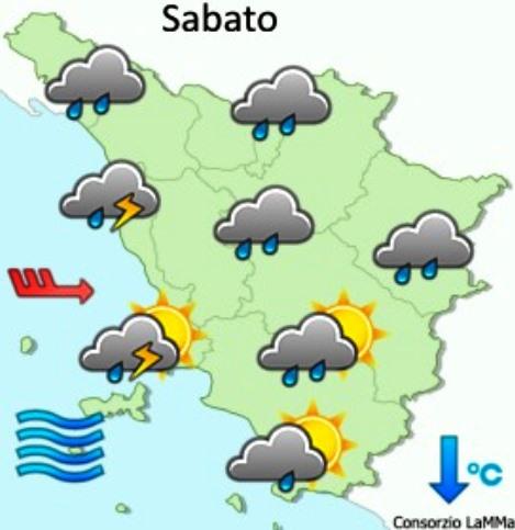 Consorzio Lamma, previsione meteo per sabato 21 novembre
