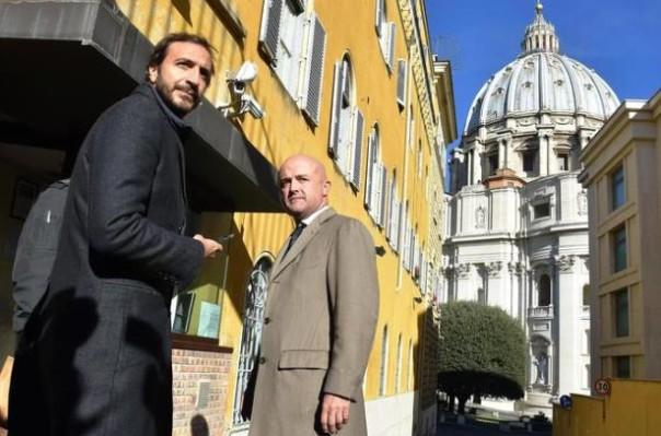 Vaticano, da sinistra Emiliano Fittipaldi e Gianluigi Nuzzi