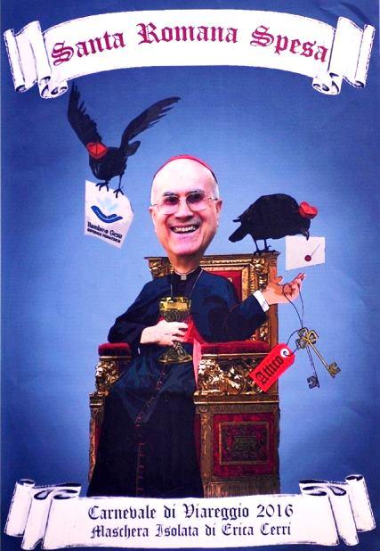 Il bozzetto della maschera del cardinale Bertone (foto Facebook - Carnevale di Viareggio)