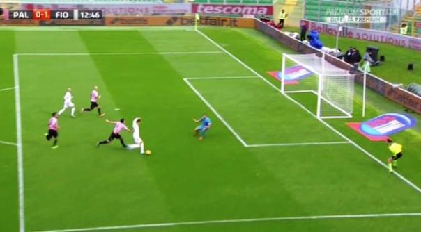 Palermo-Fiorentina, il primo gol di Ilicic (foto Twitter - @Sport_Mediaset)