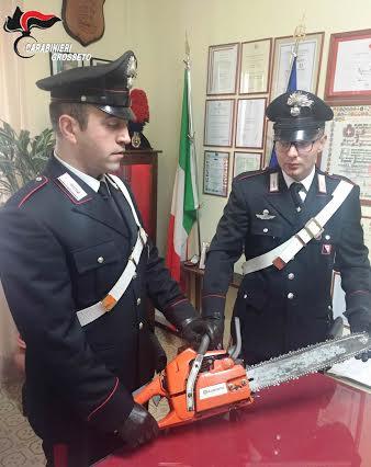 I carabinieri di Grosseto mostrano la motosega sequestrata