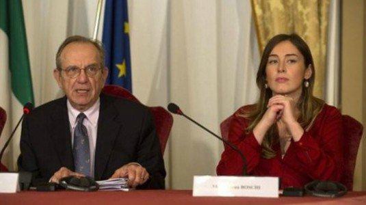 I ministri Pier Carlo Padoan e Maria Elena Boschi