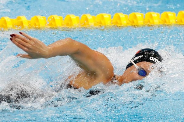 Italy's Federica Pellegrini competes in a women's 200m freestyle heat during the European Swimming Championships at the London Aquatics Centre in London, Friday, May 20, 2016. (ANSA/AP Photo/Matt Dunham) [CopyrightNotice: Copyright 2016 The Associated Press. All rights reserved. This material may not be published, broadcast, rewritten or redistribu]