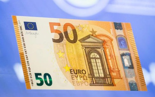 epa05408913 The new 50 Euro bank note can be seen after its presentation at the headquarters of the European Central Bank (ECB),in Frankfurt/Main, Germany, 05 July 2016.  EPA/FRANK RUMPENHORST
