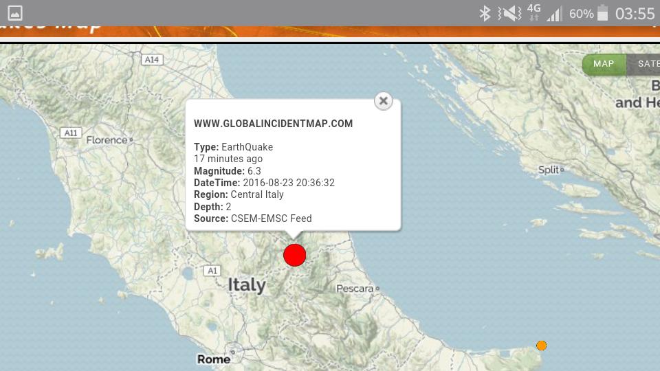 La zona delle scvosse di terremoto di stanotte, 24 agosto 2016