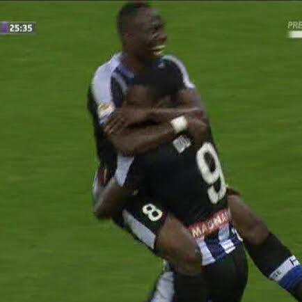 L'esultanza di Zapata: ma il suo gol era in netto fuorigioco