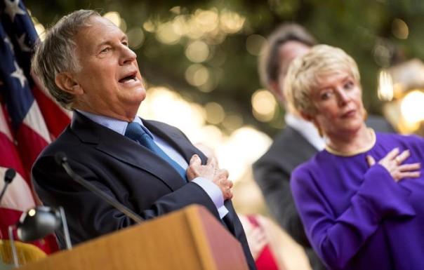 U.S. Ambassador, John Phillips and his wife Linda Douglass during 4th of July Celebration at Villa Taverna in Rome, 6 July 2016. ANSA/CLAUDIO PERI