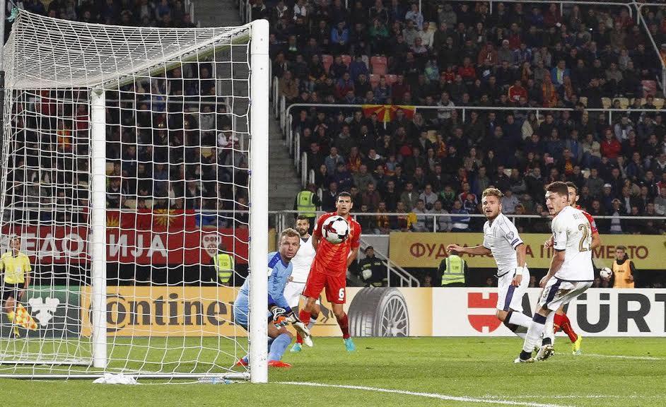 Il gol decisivo dell'Italia di Immobile a Skopje che suggella la vittoria azzurra in rimonta