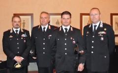 Da destra il colonnello Taurelli Salimbeni, il carabiniere sc. Antonio Costa, l'appuntato sc. Andrea Fabbri, il capitano Disibio