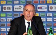 Giancarlo Abete, presidente Figc, a Coverciano