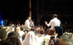 Matteo Renzi sul palco della festa Pd a Firenze