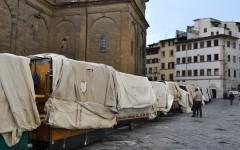 Bancarelle chiuse per protesta in Piazza San Lorenzo