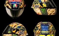 La pasta di Vale non scuoce mai lo scherzoso casco di Valentino Rossi al Mugello