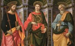 Santo Stefano tra i Santi Giacomo maggiore e Pietro» di Domenico Ghirlandaio