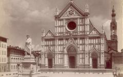 Un'immagine ottocentesca di Piazza Santa Croce, con la statua di Dante al centro