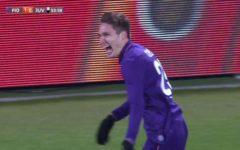 Calcio: Fiorentina vince a Wolfsburg (2-0) con reti di Kalinic e Chiesa (video)