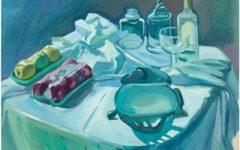 Natura morta con autoritratto come sfera di vetro, circa 1970-1973 olio su tela, Maria Lassnig Foundation