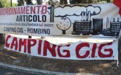 Piombino, Aferpi: striscione di protesta affisso alla rotatoria della Sol