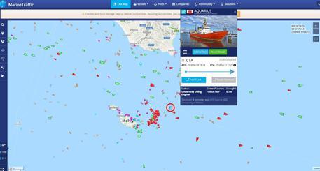 La localizzazione di Aquarius in mare